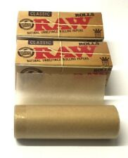 5 x RAW Rolls Natural Classic King Size Rolling Paper Roll Rips Gum