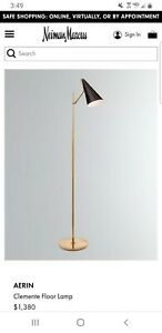 AERIN Clemente Floor Lamp in Brass with Black