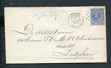 1889 env naar Zutphen met nvph 19, afgestempeld met puntstempel 245 HUISEN