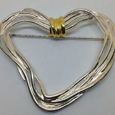 Signed PD PREMIER DESIGNS Vintage HEART BROOCH PIN Silver Tone Gold Tone Jewelry