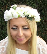 Ivory Cream Rose Flower Hair Crown Garland Headpiece Headband Green Bridal 1685