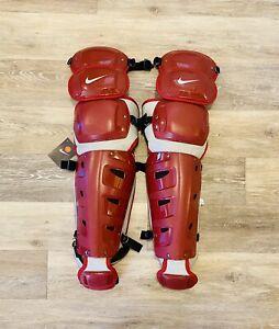 Nike Vapor Baseball Red Grey Catchers Leg Guards PBP512-676 Men's Size 16''
