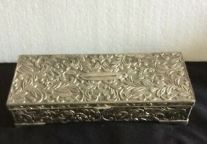 Vtg Godinger Silver Plated Jewelry Box Victorian Velvet Lined Hinged w/Lid