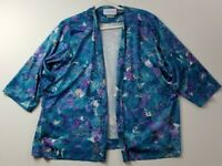 VTG Nancy II Women's 3/4 Sleeve Open Front Blouse Top 22 ½ Plus Floral Stretch