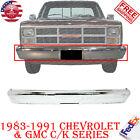 Front Chrome Steel Bumper Fits 1983-1991 Gmc Chevrolet Ck Series Pickup Truck