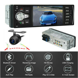 Bluetooth TFT Screen 4.1in 1Din Car Stereo Radio FM USB MP5 Player + Rear Cams