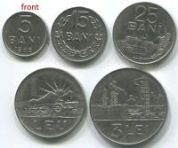 Romania C026 1966, 5 + 15 + 25 Bani, 1 Leu + 3 Lei (full set of 5 vintage coins)