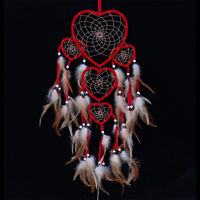 Red Dream Catcher Net with Feather Bead Wall Hanging Decoration Car Ornamen JR
