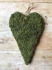 Green Moss Hanging Heart, Large Rustic Wedding or Spring Easter Decoration
