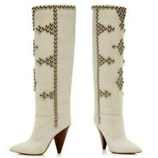 Europe Women's Ladies Studded Pointy Toe Cone Heel Casual Ankle Boots Outdoor L