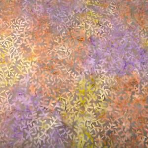 "Batik, Leaf Shapes in Coral, Lavender & Pear Green on Brown, Cotton, 32""L x 44""W"