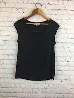 Ann Taylor Loft Short Sleeve Top Blouse Shirt With Small Cut Outs Black Small