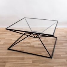 Gin Shu Parisienne Large Black Metal Framed Square Coffee Table With Glass Top