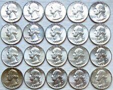 $5 LOT OF 20 1958-1964 WASHINGTON SILVER QUARTERS UNC (12 Photos)