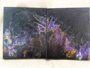 """HEIDI PURPLE"" Original Abstract Acrylic fluid wall art set of 2"
