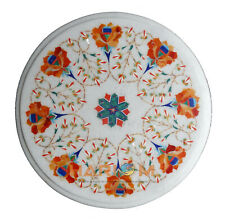 12'' Marble Round Coffee Table Top Carnelian Floral Inlay Furniture Decors W266
