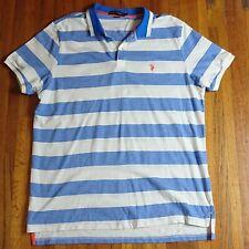 US Polo Association Ralph Lauren Polo Shirt XXL Blue and White Stripe Exclusive