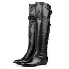 Women Genuine Leather Over The Knee High Riding Boots Flat Heel Buckle Fur Boot