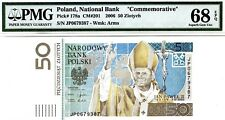MONEY POLAND 50 ZLOTYCH 2006 NATIONAL BANK PMG SUPERB GEM UNC PICK # 178a RARE