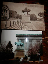 WORCESTER MA - CIVIL WAR - GEN. DEVENS MONUMENT - OLD Postcard plus MODERN PHOTO