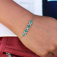 Emerald Gemstone Solid 14k White Gold Pave Natural Diamond Bracelet Fine Jewelry