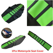Motorcycle Soft Leather Gripper Rib Skin Dirt Bike Rubber Mat Seat Cover Green