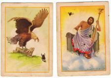 Colección completa de 2 cromos fábula El Aguila y el Escarabajo. 7,5 x 10,5 cm
