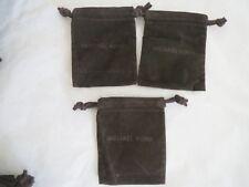 "Michael Kors set/3 brown velvet draw string jewelry pouch 4""x5.25"", new"