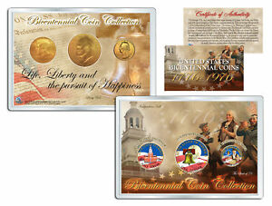 1976 BICENTENNIAL COIN COLLECTION Colorized US 3-Coin Set 24K Plated QTR IKE JFK