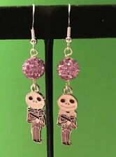 Jack Skellington Enamel  Earrings Blk & White with Lilac Sambala beads
