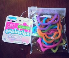 Scunci Girl Evolution Shapes Hair Ties Set of 10 Elastics Pink Orange Yellow New