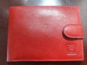 Burgundy Red Leather Rolex  Bifold Wallet