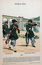 Schweiz Suisse Schwyz Uniform Scharfschütze Sniper Offizier Gewehr Soldat Rock