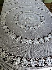 Vintage Crocheted 210cm Round White Cotton Tablecloth Crochet Table Bed
