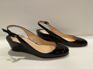 Christian Louboutin Wedge Pumps Patent Leather Black 39.5/ 9