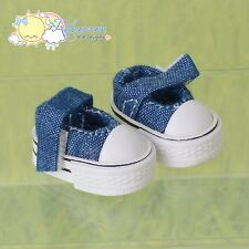 Doll Shoes Mary Jane Sneakers Denim Indigo for Lati Yellow Pukifee BJD Blythe