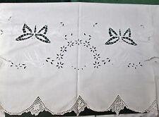 Antique Sheet Ornate Embroidery Cutwork Birds, Butterflies & Baskets of Flowers