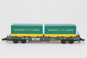 Z Scale Marklin Hupac Container Transporter w/ wocoshi/swiss Containers Load