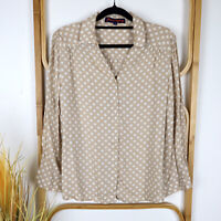 Princess Highway top size 12 polka dot cream/beige white long sleeve button up