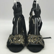 Topshop Black Embroidered And Sequins Strappy Heels Size 37/7