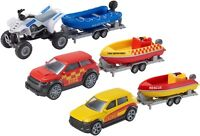 TEAMSTERZ DIE CAST RESCUE PATROL TOYS WITH POLICE & FIRE & YELLOW CAR BOATS