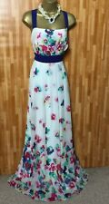 MONSOON GORGEOUS WHITE/RED/GREEN FLORAL PRINT MAXI FULL LENGTH DRESS SIZE 20
