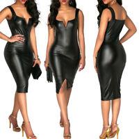 Womens Sexy Deep V Neck Bandage Tight Mini Dress Long Sleeve Dresses Wet Look