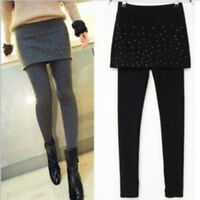 Elastic Slim Long Stretch Pants Mini Skirt Leggings Ladies Footless Pleated HO