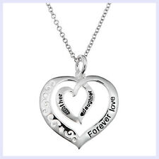 Sterling Silver Mother Daughter Forever Love Heart Dangle Pendant Chain Necklace