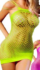 Mini Dress Fishnet #30 Neon YELLOW One Size fit thru 24W Plus Size Lingerie