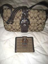 AUTH COACH Signature 6314 Khaki & Brown Canvas Handbag Shoulder Bag & Wallet