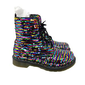 Dr Martens Rainbow Sequin Boots Pascal Lace Up Womens US Size 7