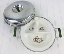 SWEET VTG. Mary Had Little Lamb BABY FEEDING DISH WITH HOT WATER WARMER Vintage