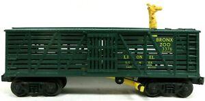 Lionel 3376 Bronx Zoo Operating Giraffe Stock Car (Green) Model Postwar Train SC